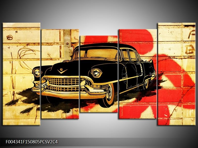 Klok schilderij Oldtimer | Zwart, Rood, Geel | 150x80cm 5Luik