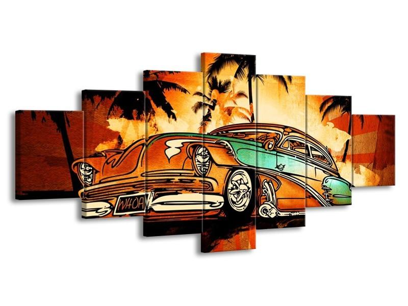 Canvas schilderij Oldtimer | Geel, Oranje, Bruin | 210x100cm 7Luik