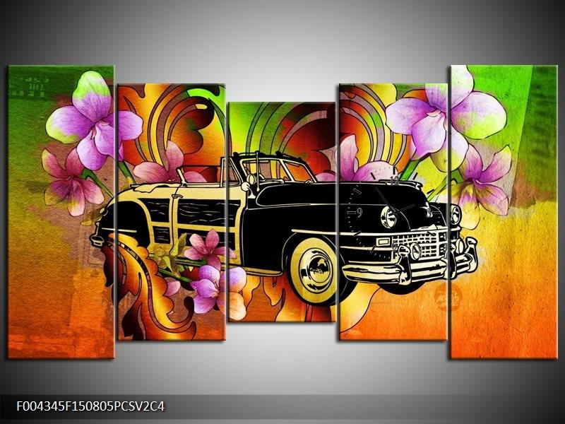 Klok schilderij Oldtimer | Paars, Geel, Rood | 150x80cm 5Luik