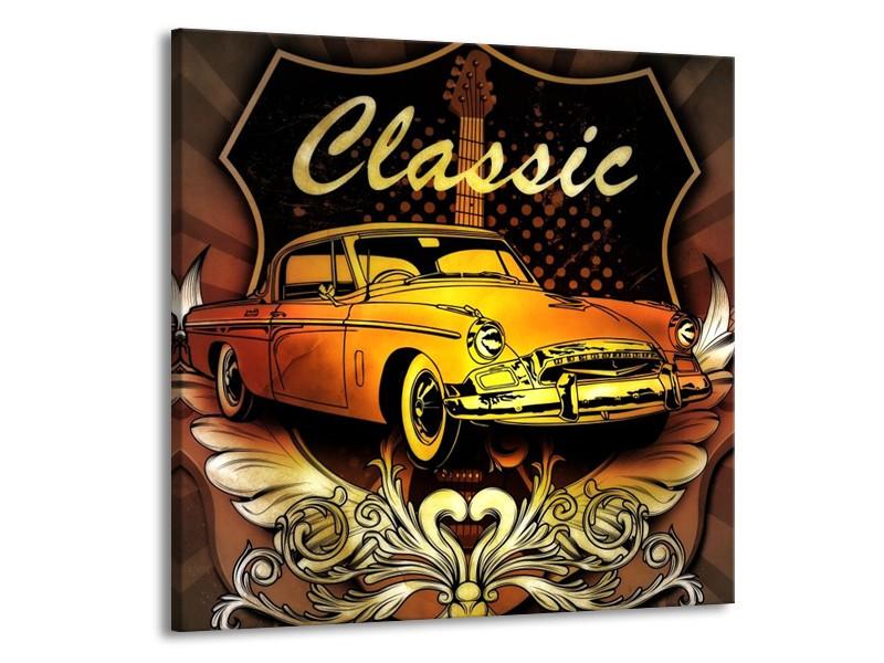Glas schilderij Oldtimer   Geel, Bruin, Oranje   50x50cm 1Luik