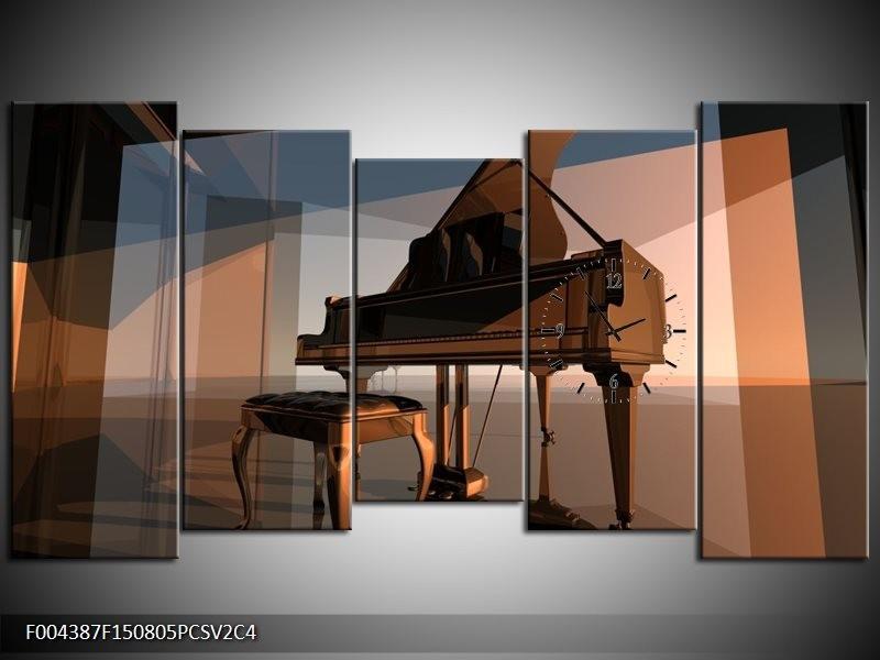 Klok schilderij Piano | Bruin, Grijs | 150x80cm 5Luik