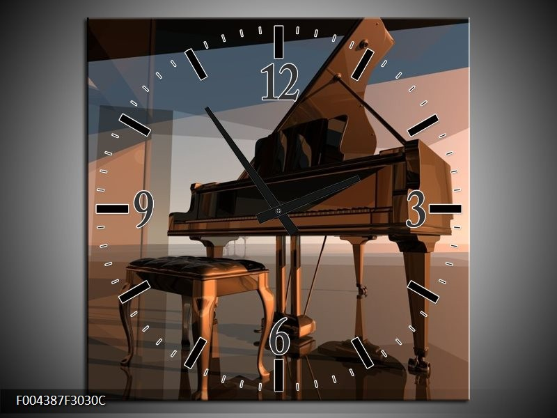 Klok schilderij Piano | Bruin, Grijs | 30x30cm 1Luik