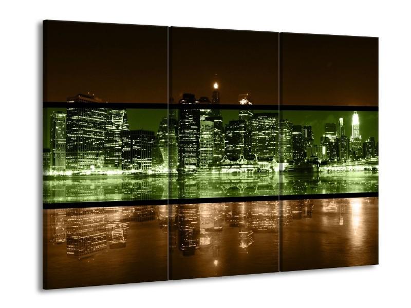 Canvas schilderij Steden   Groen, Bruin   90x60cm 3Luik