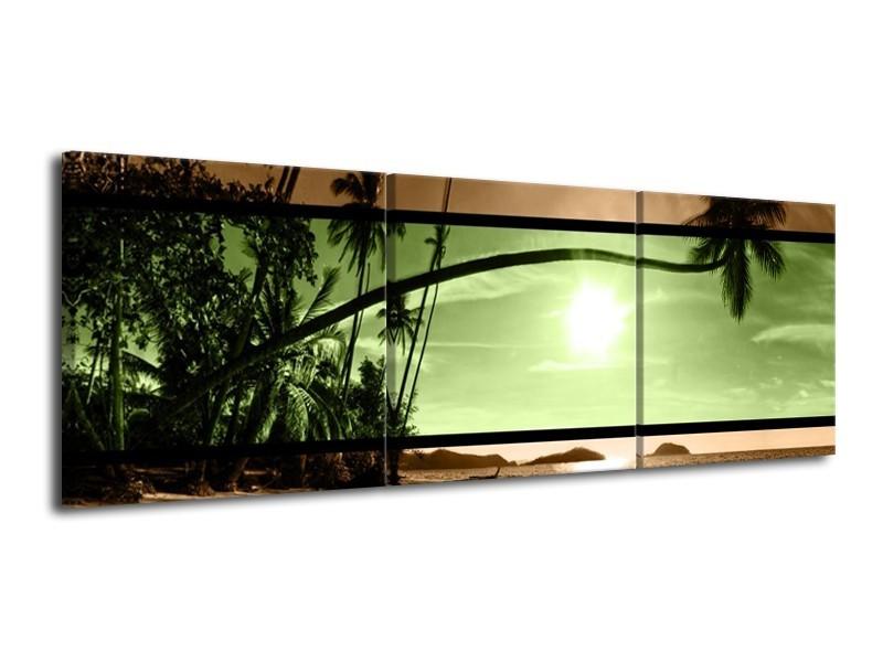 Canvas schilderij Strand   Groen, Bruin, Zwart   120x40cm 3Luik