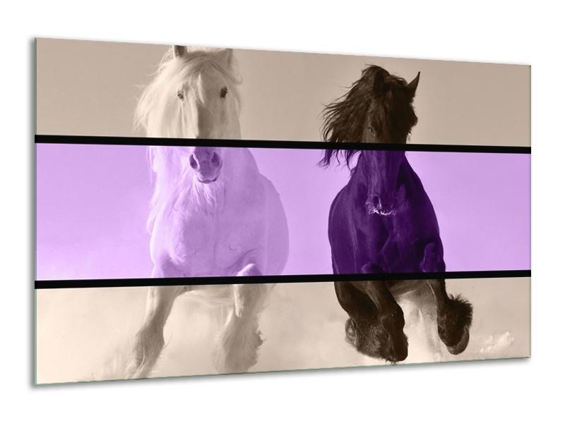 Canvas schilderij Paard   Paars, Zwart, Grijs   120x70cm 1Luik