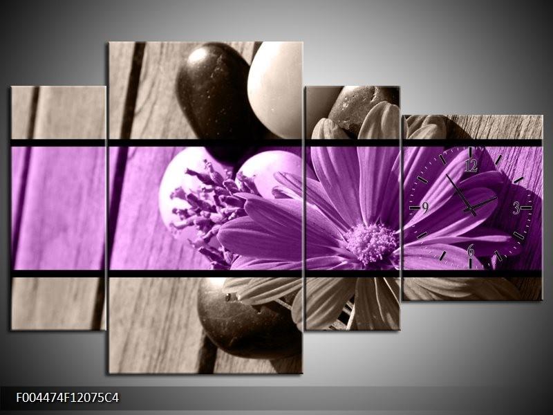 Klok schilderij Bloem | Paars, Grijs | 120x75cm 4Luik