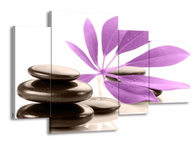 Glas schilderij Spa | Zwart, Paars, Wit | 120x75cm 4Luik