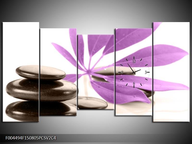 Klok schilderij Spa | Zwart, Paars, Wit | 150x80cm 5Luik