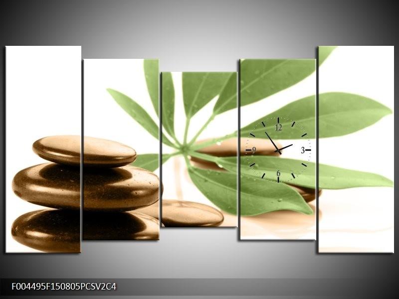 Klok schilderij Spa | Groen, Bruin, Wit | 150x80cm 5Luik