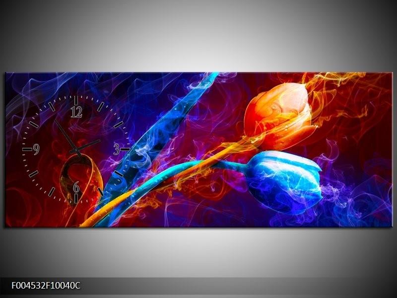 Klok schilderij Tulp | Blauw, Rood, Oranje | 100x40cm 1Luik