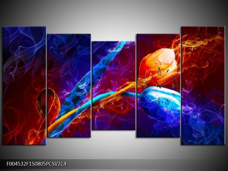 Klok schilderij Tulp | Blauw, Rood, Oranje | 150x80cm 5Luik