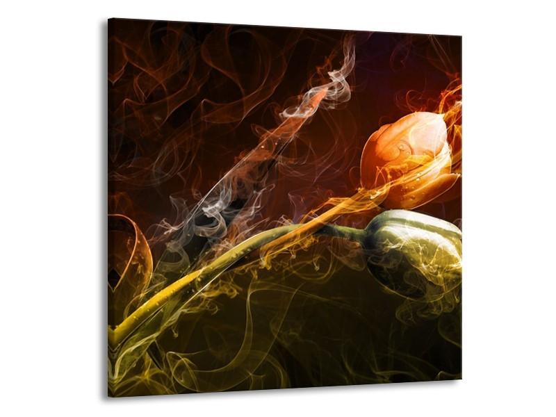Canvas schilderij Tulp | Oranje, Groen, Geel | 70x70cm 1Luik