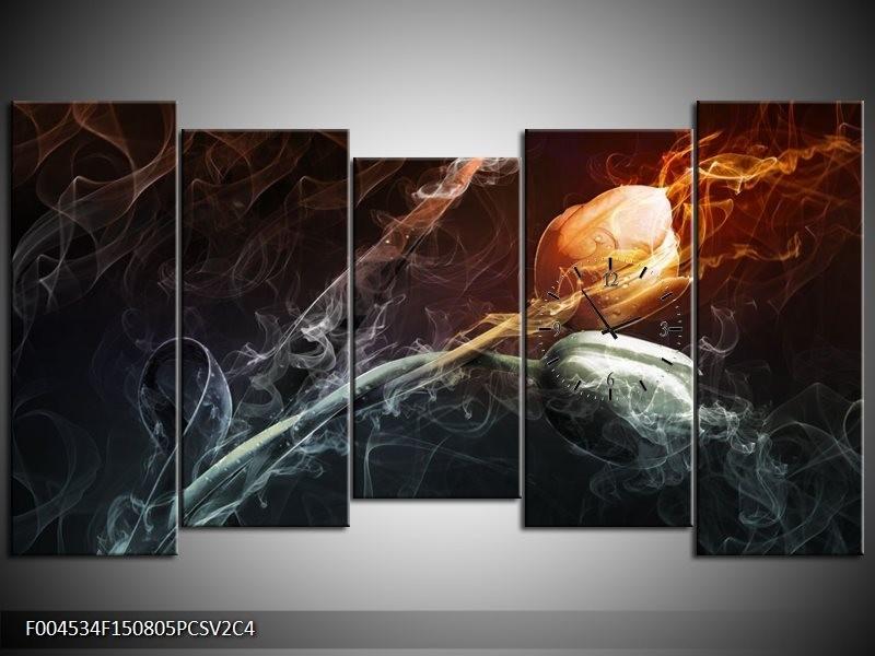Klok schilderij Tulp | Grijs, Geel | 150x80cm 5Luik