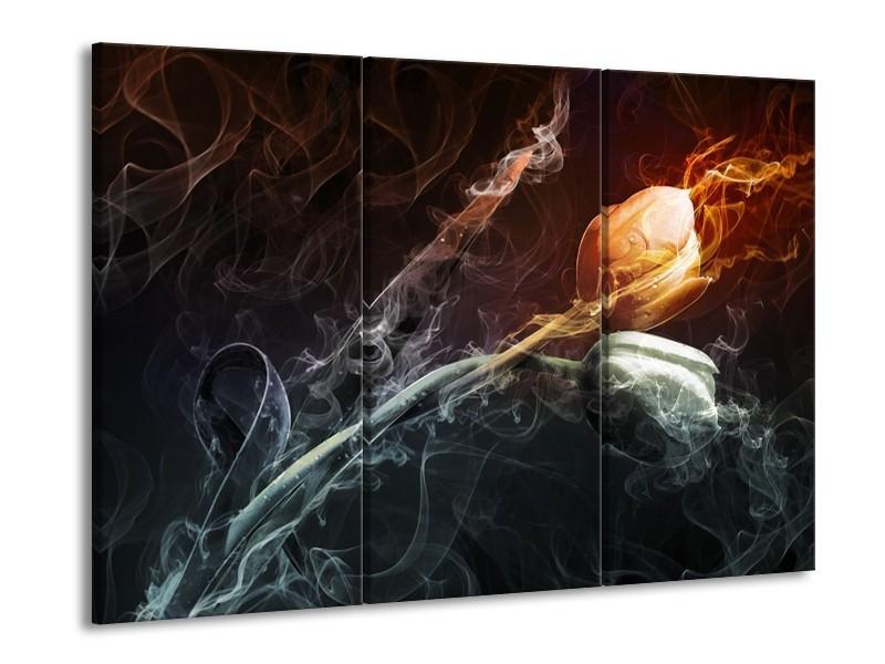 Glas schilderij Tulp | Grijs, Geel | 90x60cm 3Luik