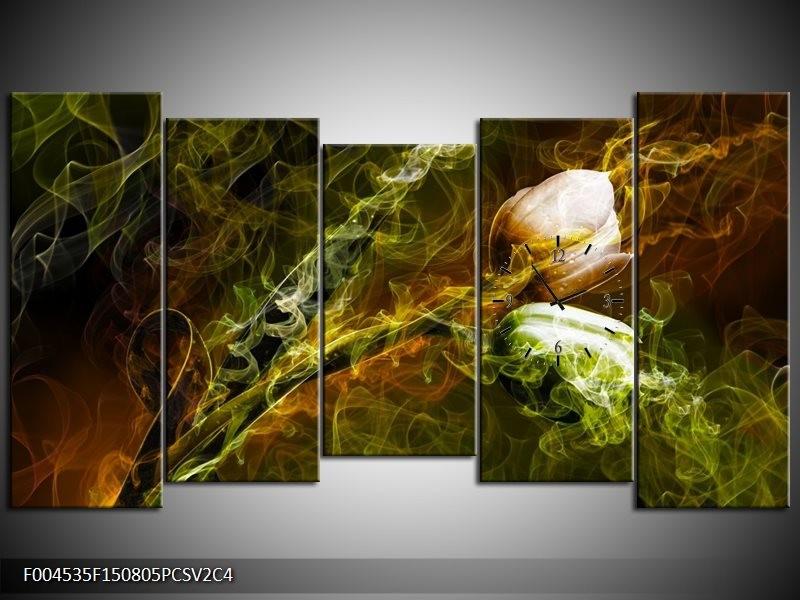 Klok schilderij Tulp | Groen, Geel | 150x80cm 5Luik