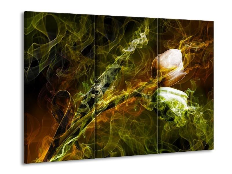 Glas schilderij Tulp | Groen, Geel | 90x60cm 3Luik