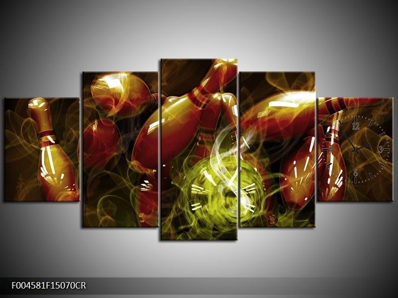 Klok schilderij Spel   Bruin, Groen   150x70cm 5Luik