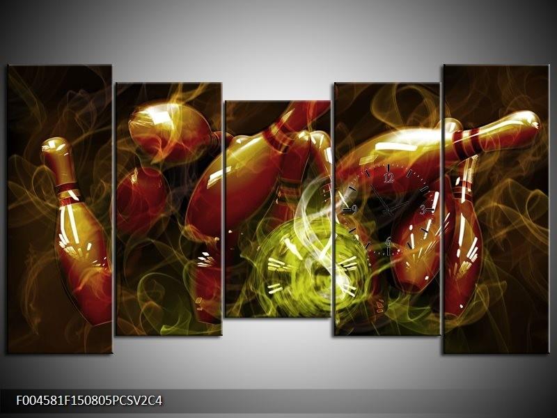 Klok schilderij Spel | Bruin, Groen | 150x80cm 5Luik