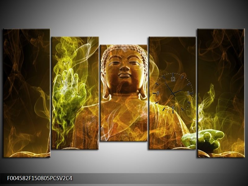 Klok schilderij Boeddha | Bruin, Groen | 150x80cm 5Luik