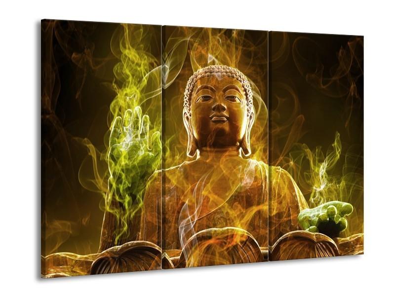 Glas schilderij Boeddha | Bruin, Groen | 90x60cm 3Luik