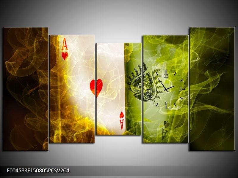 Klok schilderij Spel | Rood, Groen, Geel | 150x80cm 5Luik