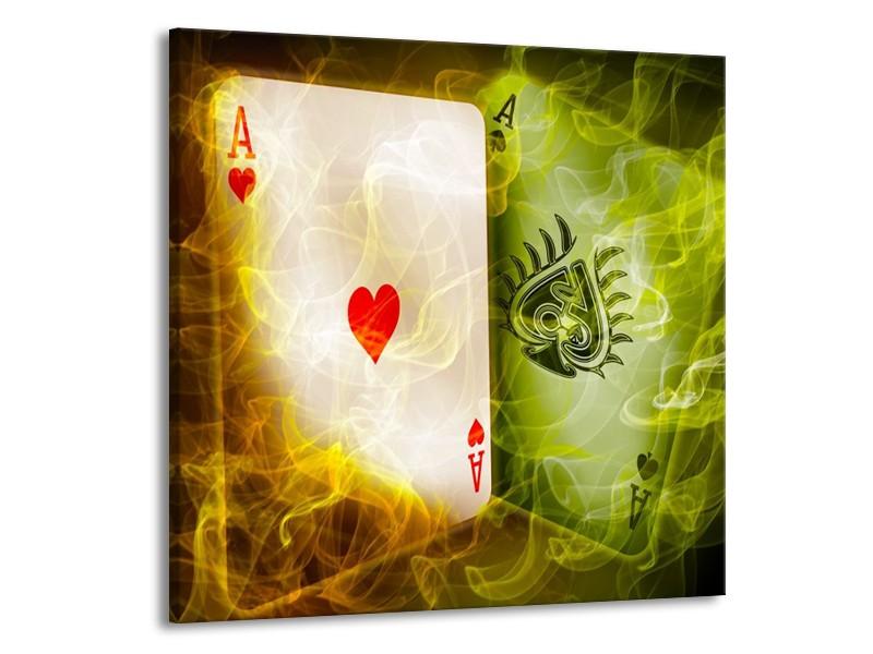 Glas schilderij Spel | Rood, Groen, Geel | 50x50cm 1Luik