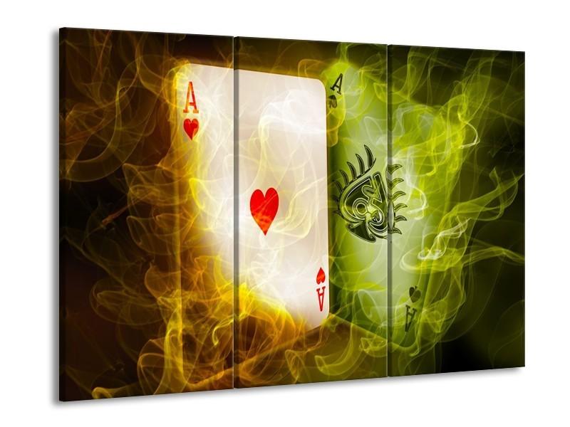 Glas schilderij Spel | Rood, Groen, Geel | 90x60cm 3Luik