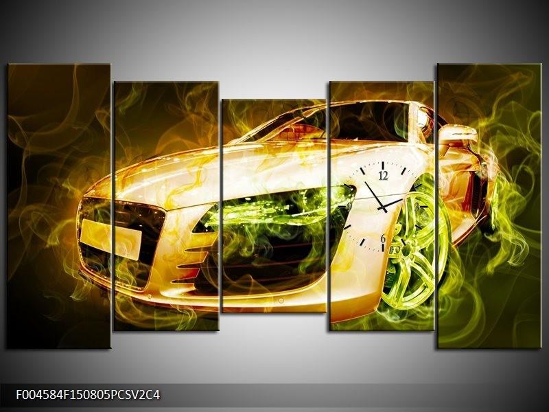 Klok schilderij Audi | Bruin, Groen | 150x80cm 5Luik