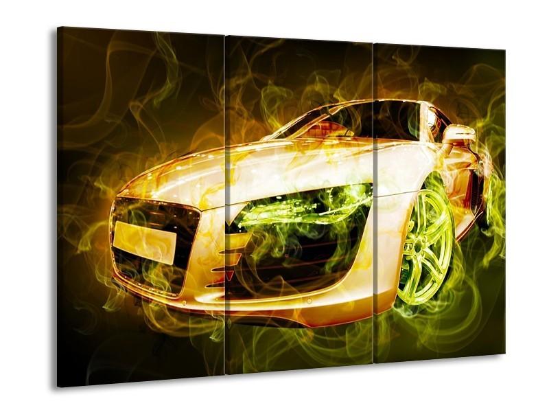 Glas schilderij Audi | Bruin, Groen | 90x60cm 3Luik