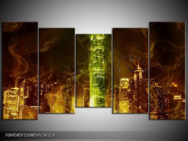 Klok schilderij Modern | Bruin, Groen | 150x80cm 5Luik