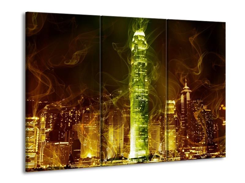 Glas schilderij Modern | Bruin, Groen | 90x60cm 3Luik