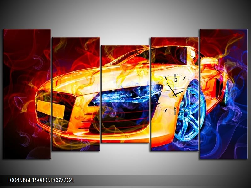 Klok schilderij Audi | Rood, Blauw, Rood | 150x80cm 5Luik