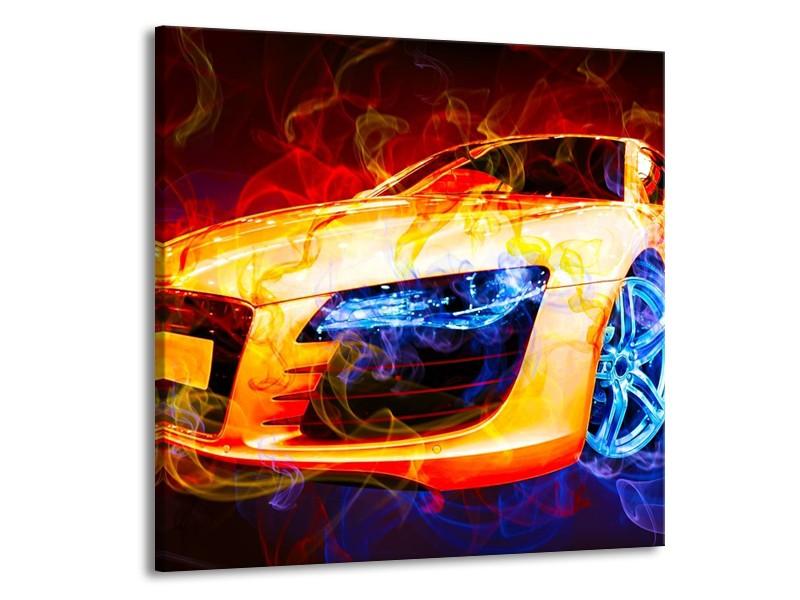 Glas schilderij Audi   Rood, Blauw, Rood   70x70cm 1Luik