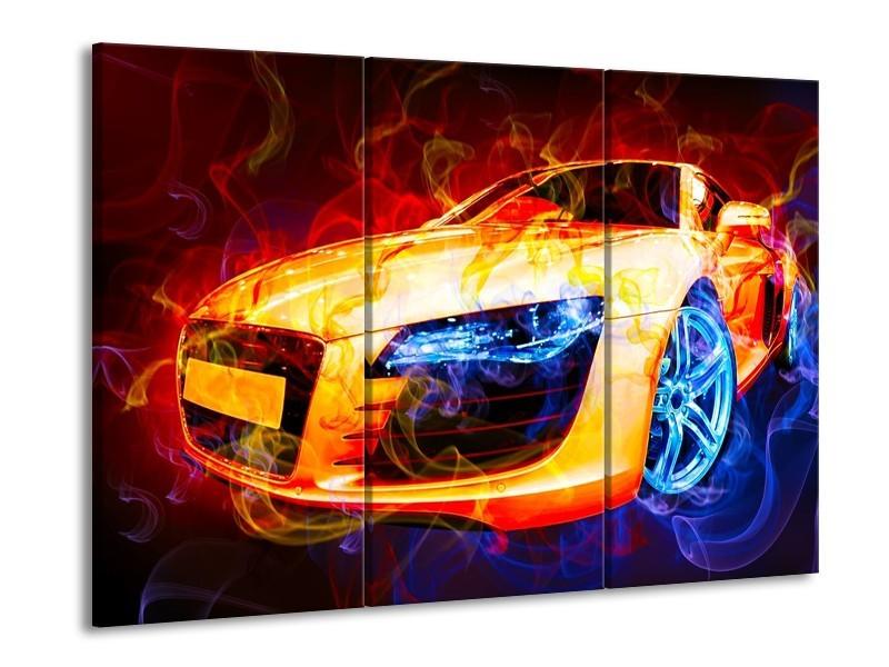 Canvas schilderij Audi | Rood, Blauw, Rood | 90x60cm 3Luik