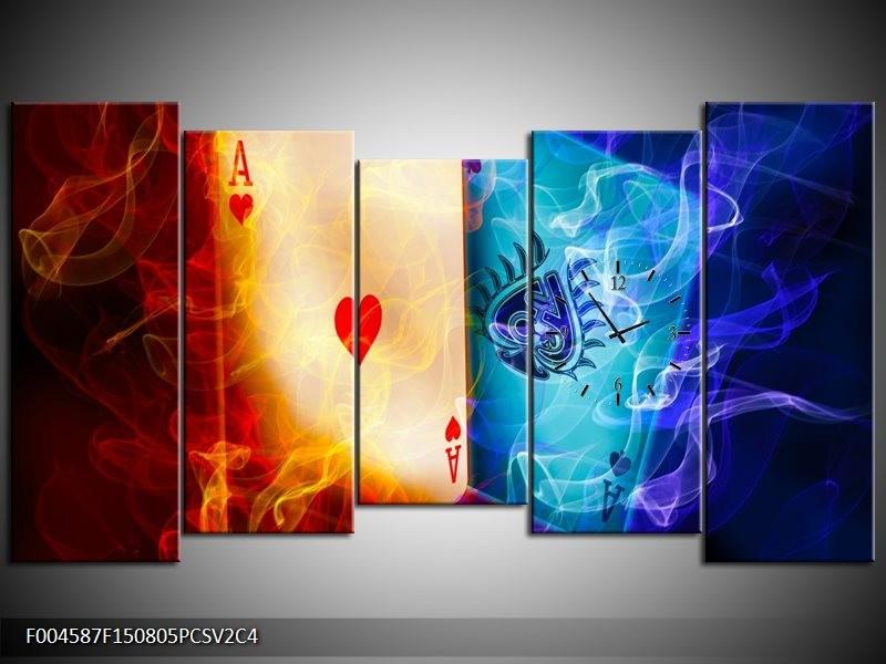 Klok schilderij Spel | Rood, Blauw, Rood | 150x80cm 5Luik