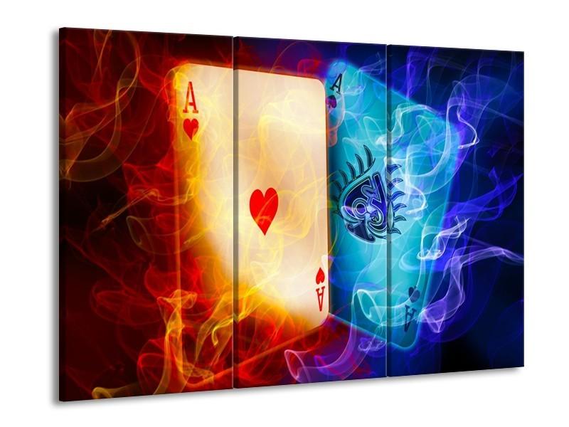 Canvas schilderij Spel | Rood, Blauw, Rood | 90x60cm 3Luik