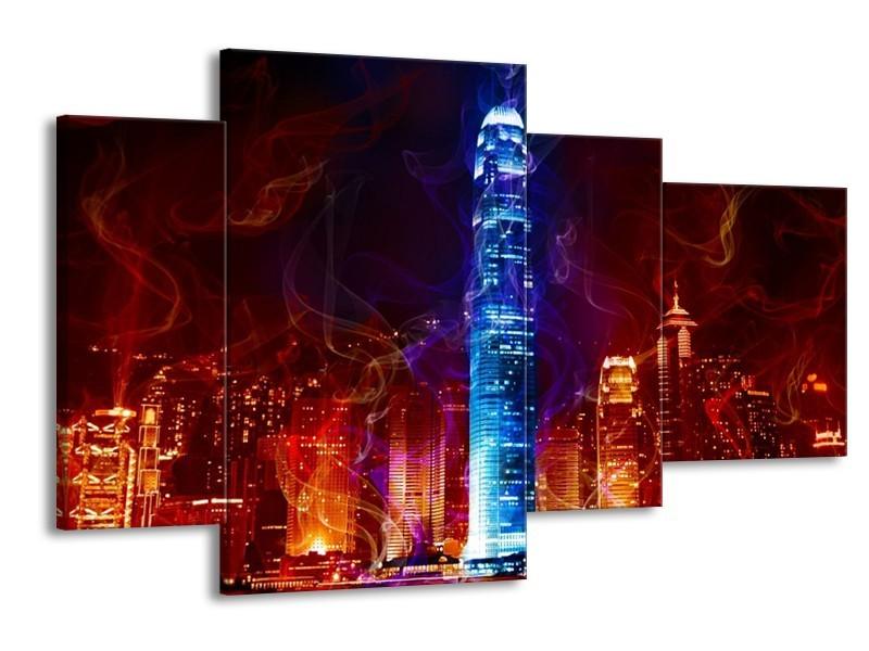 Canvas schilderij Modern | Rood, Blauw, Rood | 120x75cm 4Luik
