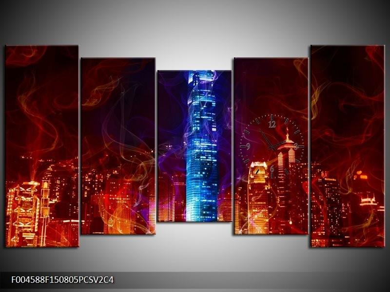 Klok schilderij Modern | Rood, Blauw, Rood | 150x80cm 5Luik