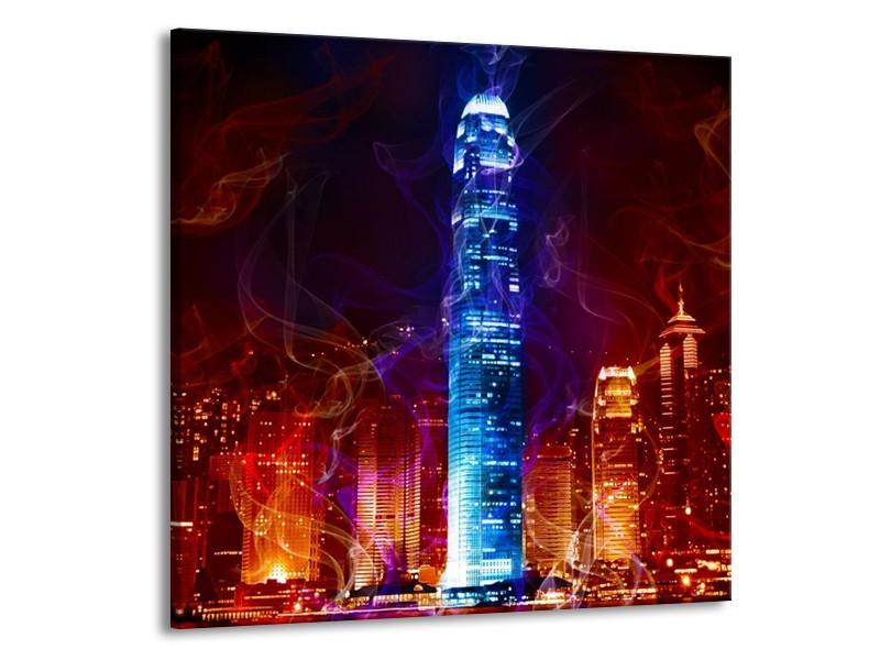Glas schilderij Modern   Rood, Blauw, Rood   70x70cm 1Luik