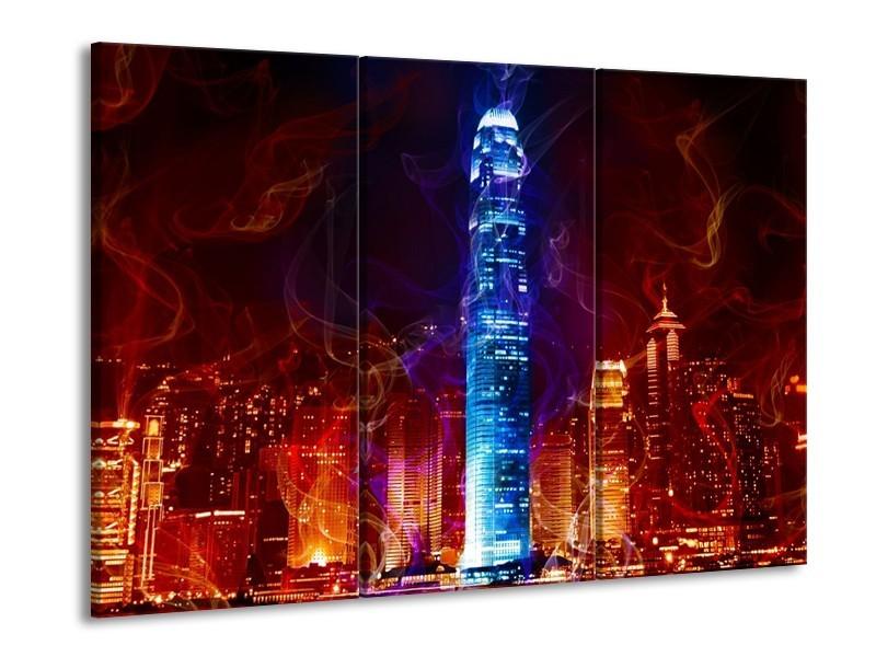 Canvas schilderij Modern | Rood, Blauw, Rood | 90x60cm 3Luik