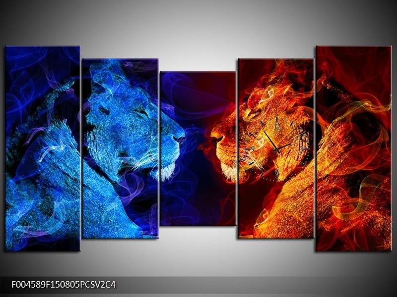 Klok schilderij Leeuw | Rood, Blauw, Rood | 150x80cm 5Luik
