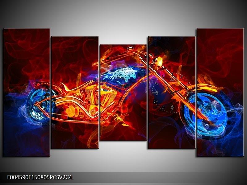 Klok schilderij Motor | Rood, Blauw, Rood | 150x80cm 5Luik