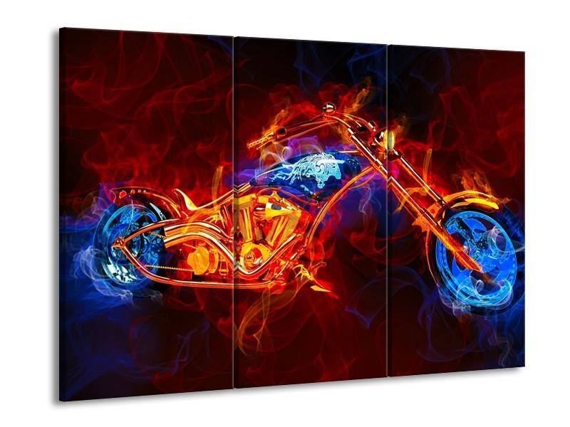 Canvas schilderij Motor | Rood, Blauw, Rood | 90x60cm 3Luik