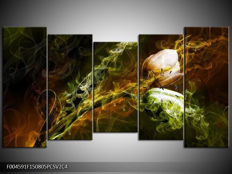 Klok schilderij Tulp | Groen, Geel, Zwart | 150x80cm 5Luik