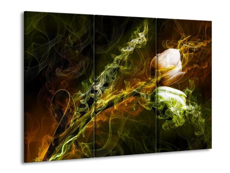 Canvas schilderij Tulp | Groen, Geel, Zwart | 90x60cm 3Luik