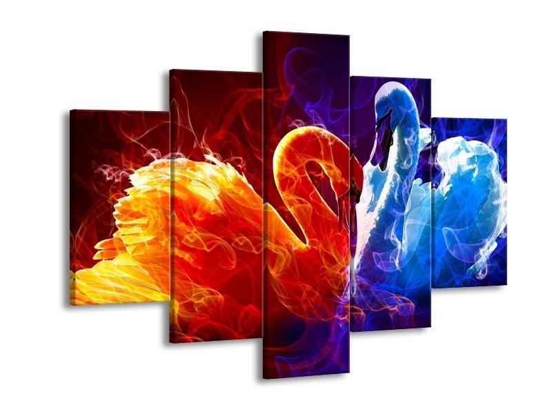 Canvas schilderij Zwanen | Rood, Blauw, Rood | 150x105cm 5Luik
