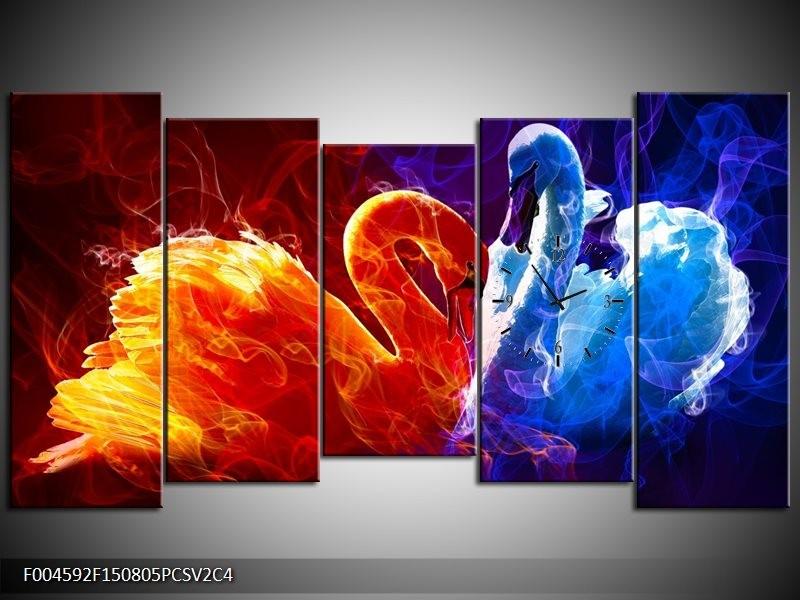 Klok schilderij Zwanen | Rood, Blauw, Rood | 150x80cm 5Luik