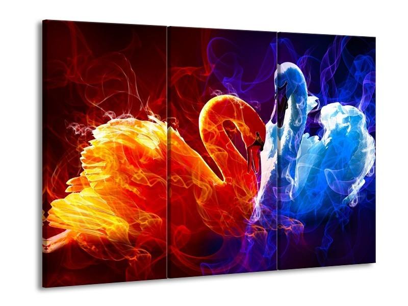 Canvas schilderij Zwanen | Rood, Blauw, Rood | 90x60cm 3Luik
