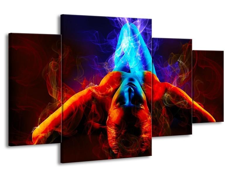 Canvas schilderij Kunst | Rood, Blauw, Rood | 160x90cm 4Luik