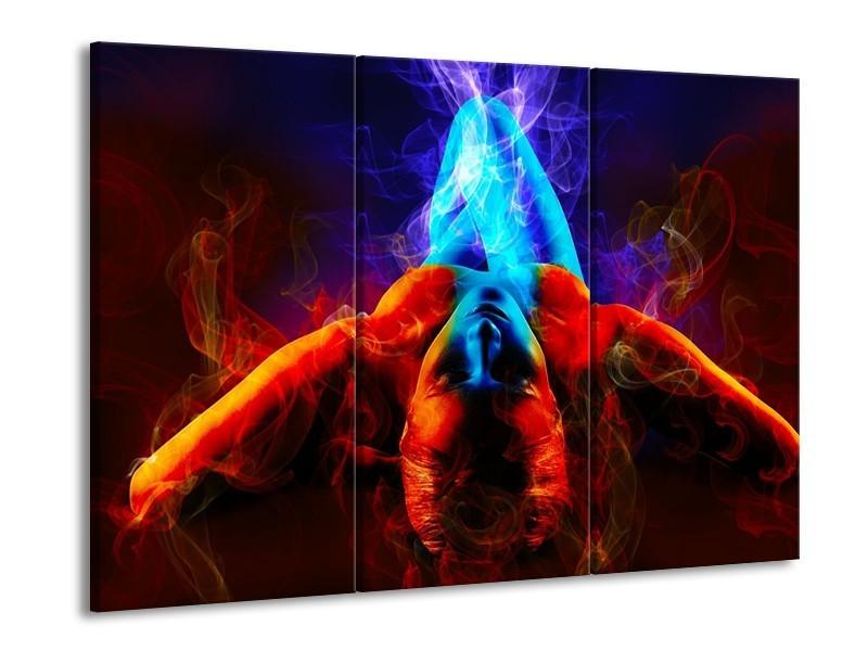 Glas schilderij Kunst | Rood, Blauw, Rood | 90x60cm 3Luik